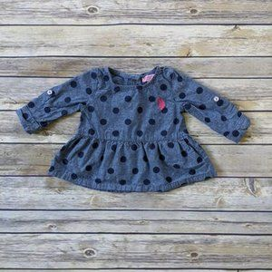 U.S. Polo Assn. Baby Girl Polka Dot Chambray Shirt